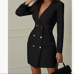 NWOT Double Breasted Blazer Dress in Black